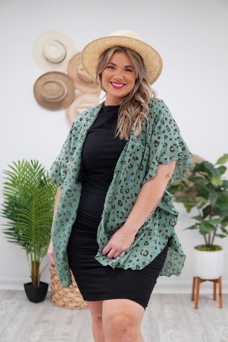 Leopard Print Ruffle Sleeves Kimono