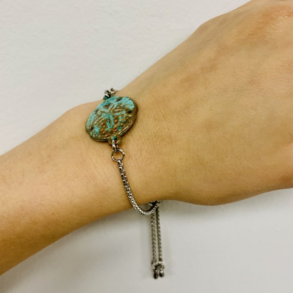 Copper Patina Sand Dollar Slide Bracelet