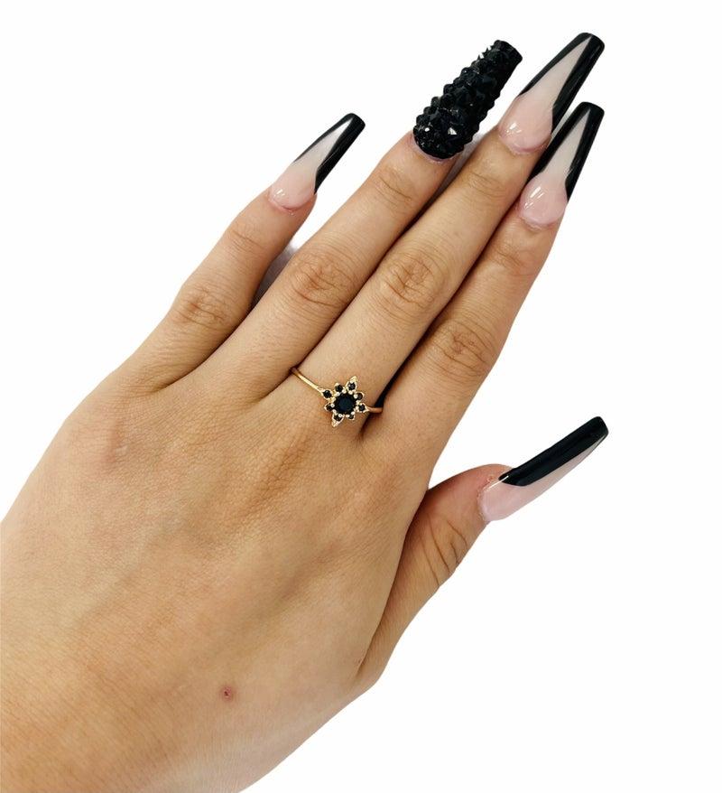 Black Stone Flower Ring