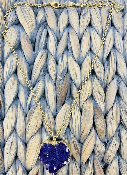 Love Poppy Druzy Heart Necklace