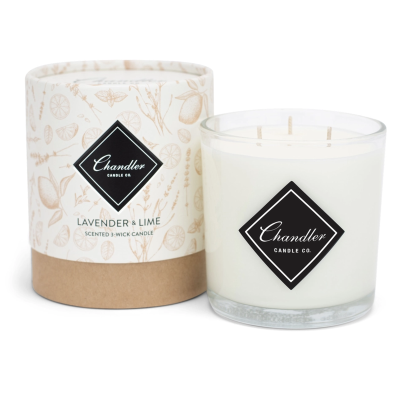 Chandler Candle Co Lavendar Lime 3-Wick Candle
