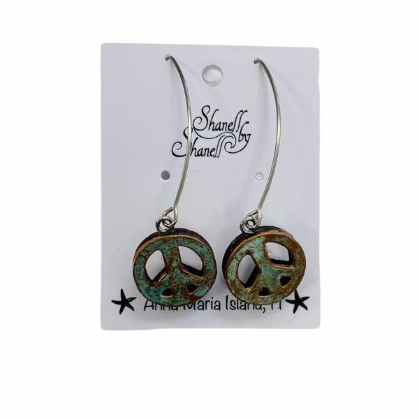 Copper Peace Sign Earrings