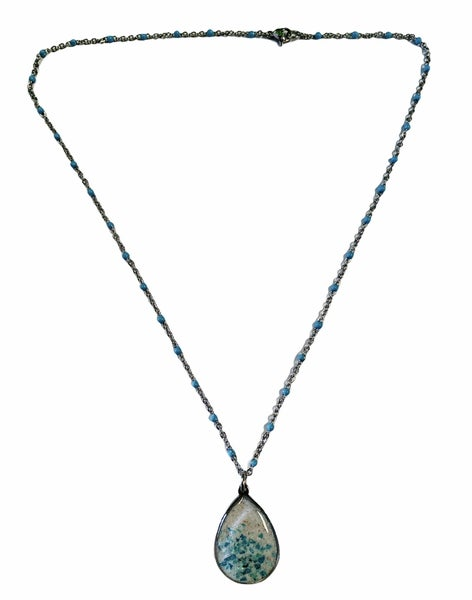 Crushed Stone And Sand Teardrop Necklace