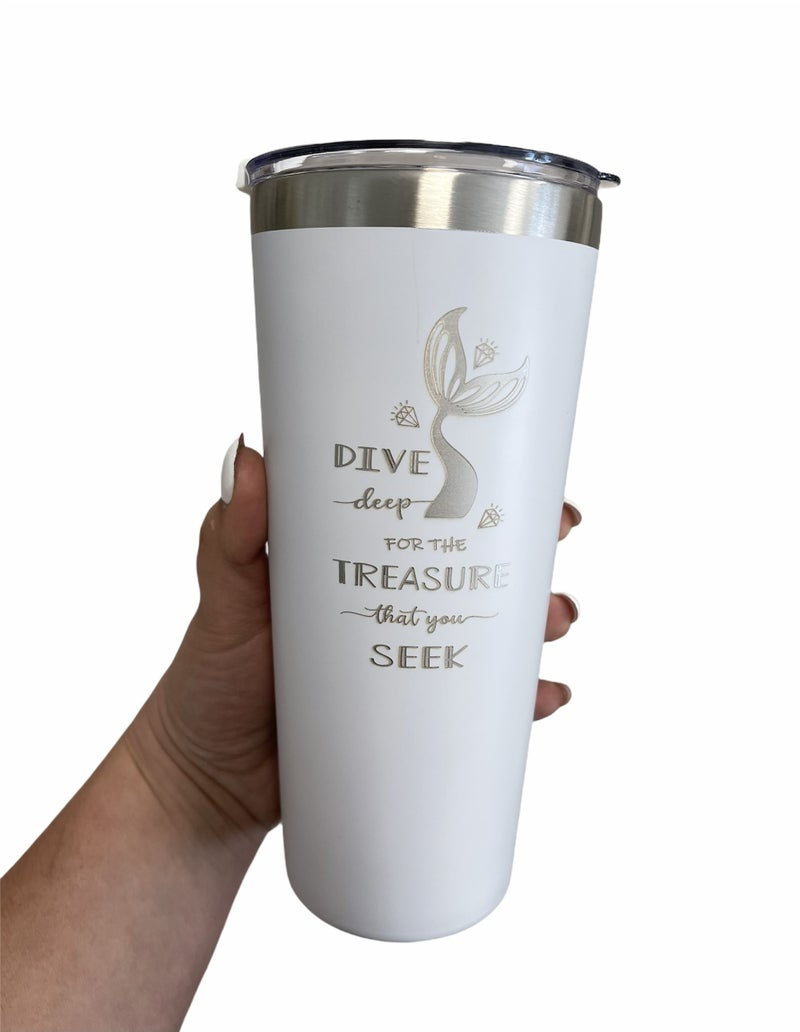 Dive,Treasure,Seek Stainless etched Tumbler