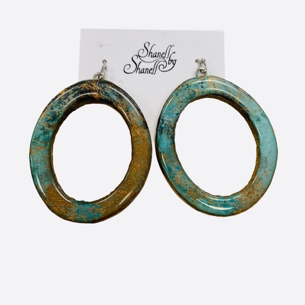 Copper Bamboo Oval Earrings