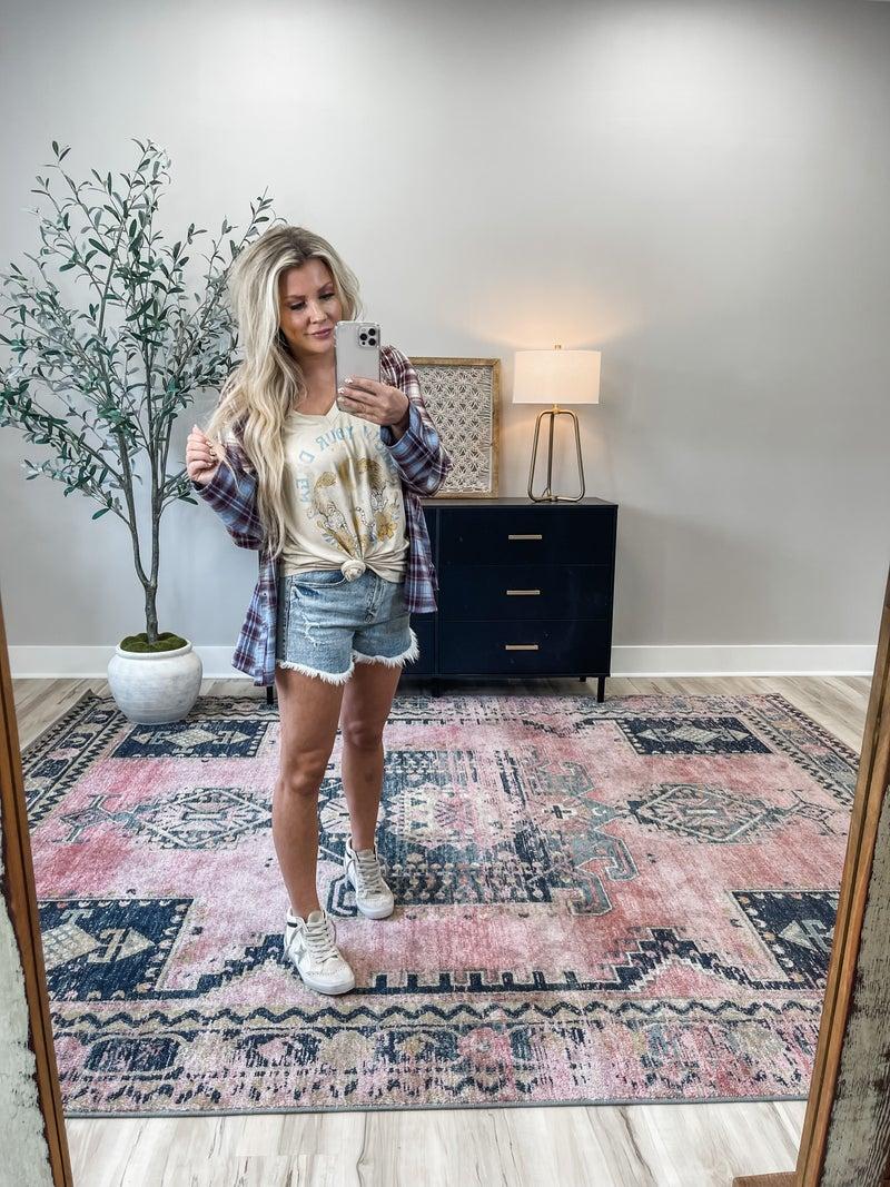 Lulu High Rise Cutoffs