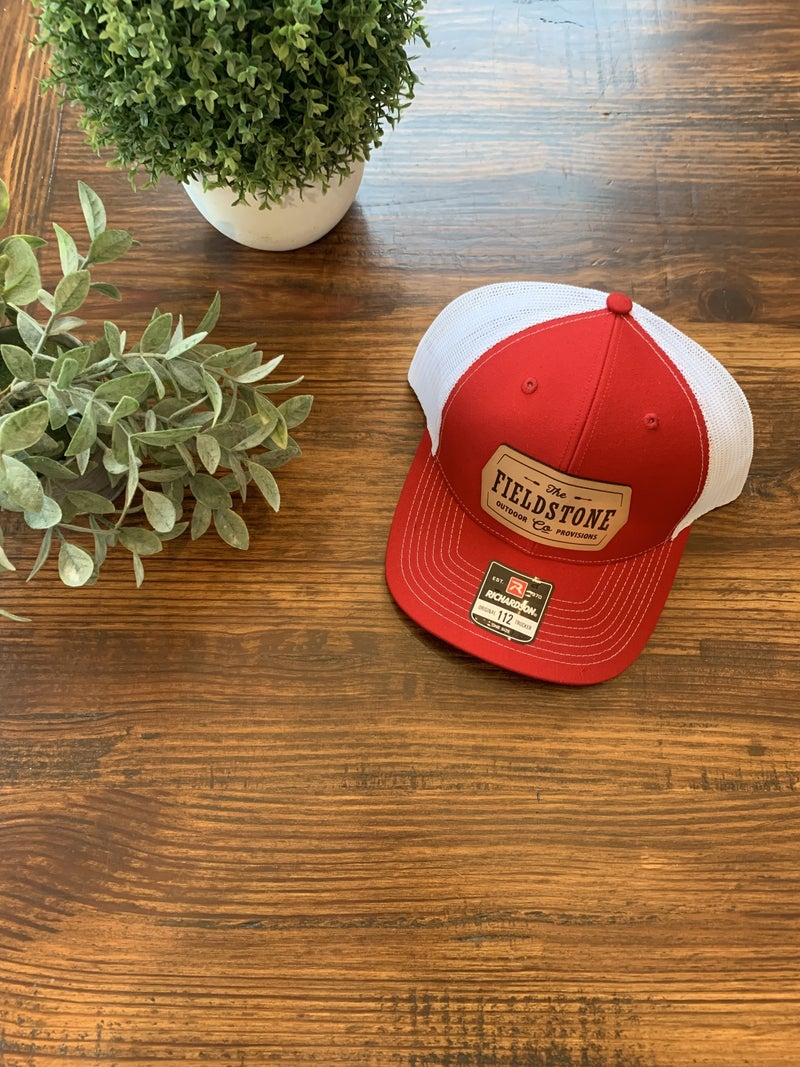 Fieldstone Leather Patch Hat-Red
