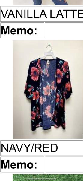 Navy/Red Floral Kimono