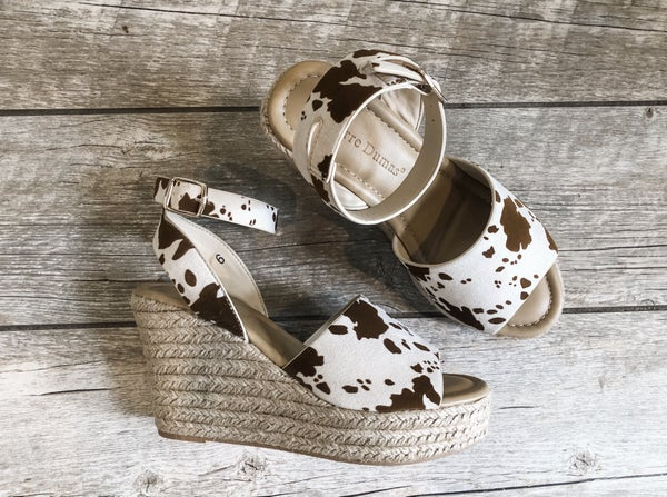The Cutie Cow Print Wedge