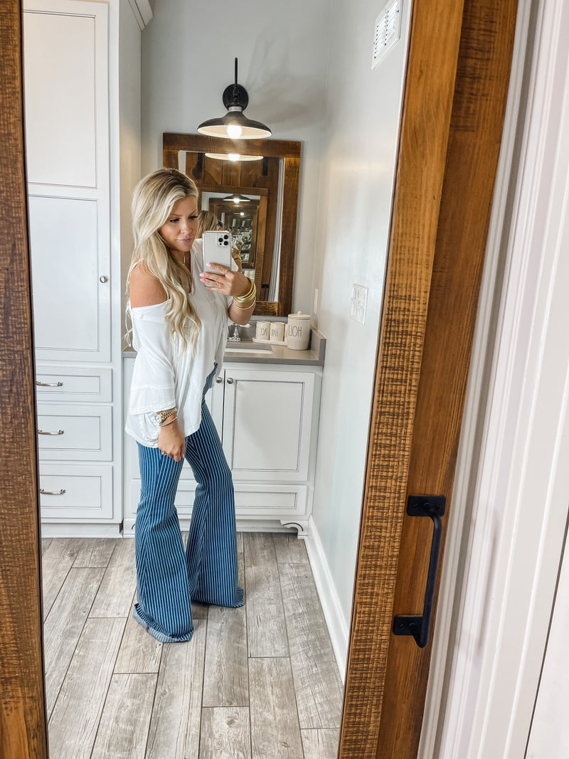 Washed Striped Judy Blue Flares