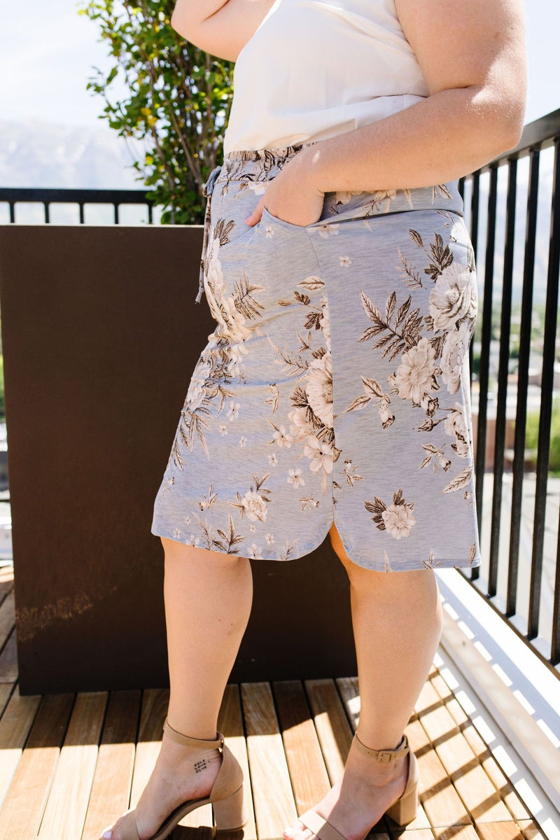 Casual Floral Drawstring Skirt