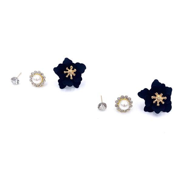 Pearl Flower Earring Set