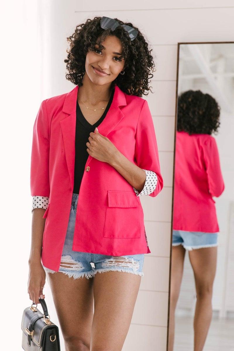 Pop of Polka Pink Blazer