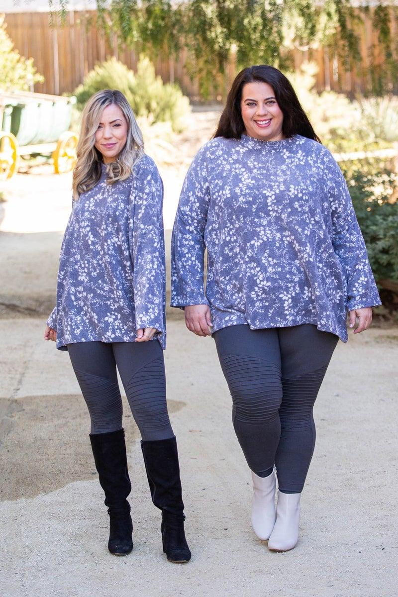 Silver Flora Mock Neck Sweater