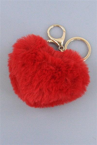 Large Heart Pom Keychain