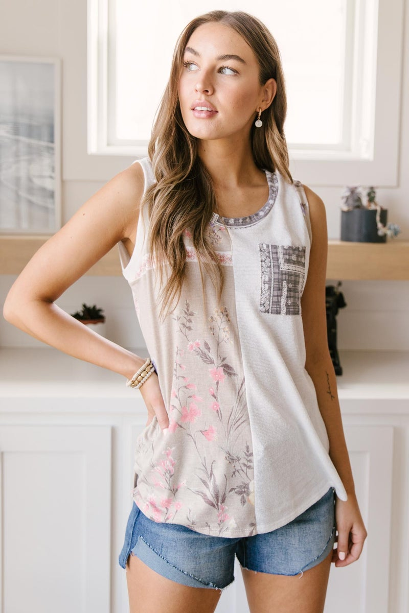 Let's Go Halfsies Tank in Taupe