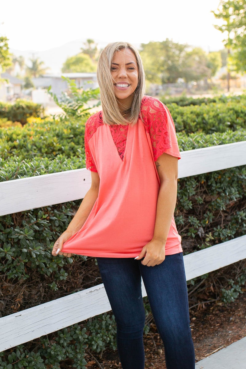 Living On The Edge Lace Top