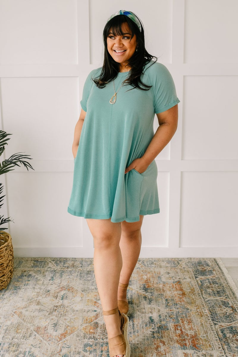 Best Of The Basic Tee Shirt Dress in Mint