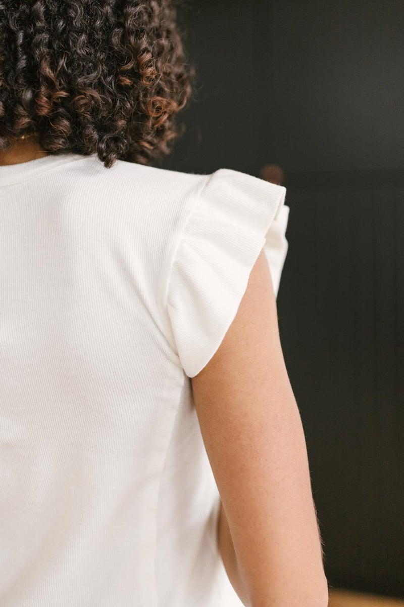 Vera Flutter Top in White