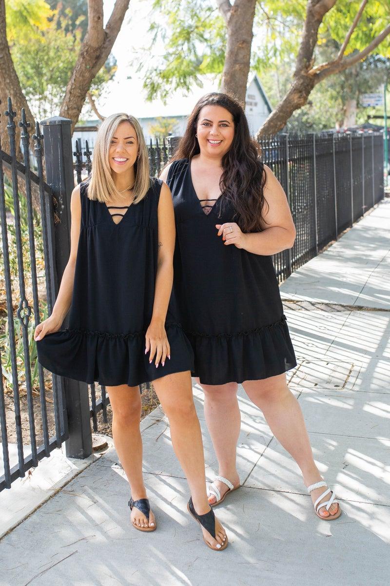 Summer Noir Ruffled Dress