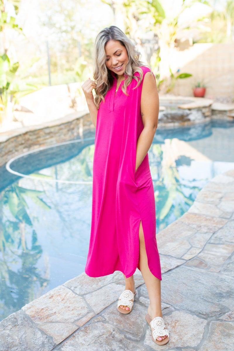 Sleeveless Fuchsia Gabby Dress