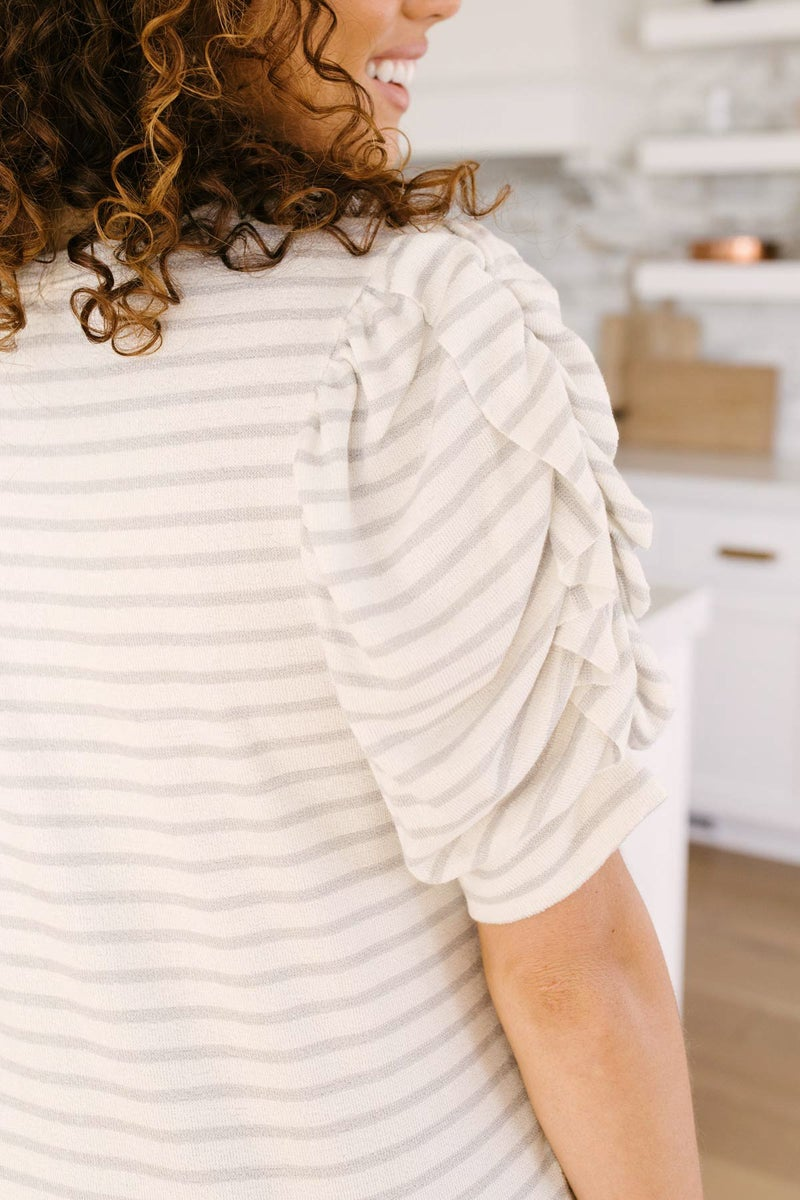 All In The Sleeves Striped Top