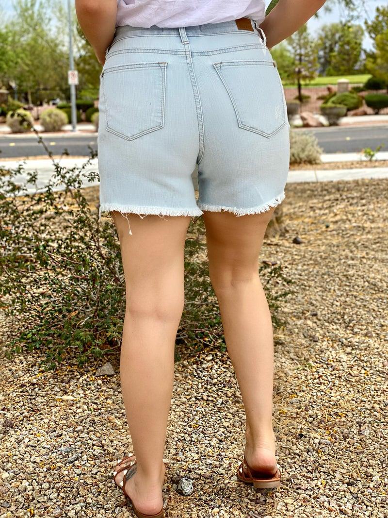 Judy Blue Alex High-Waist Bleach Light Cut-Off Shorts