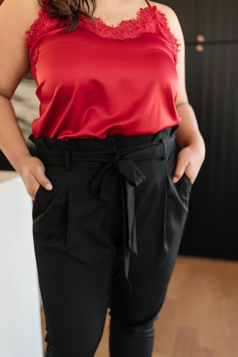 Business Woman Paperbag Pants in Black