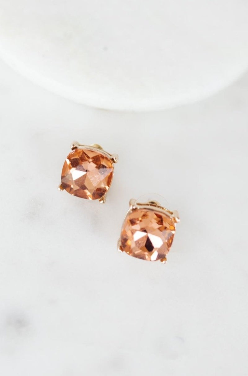 Crystal Studs in Coral