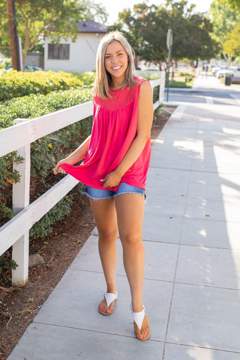 Coral Infusion Sleeveless Top