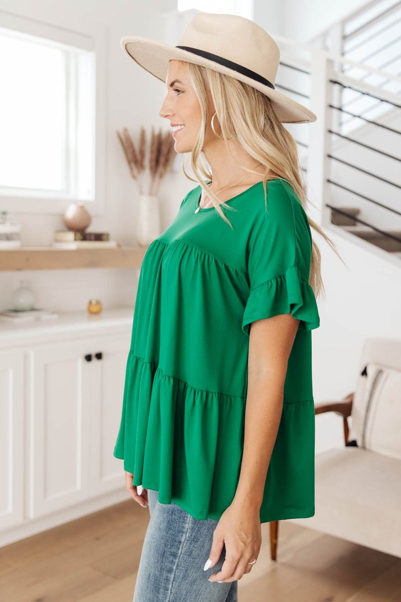 Tiered Top in Kelly Green