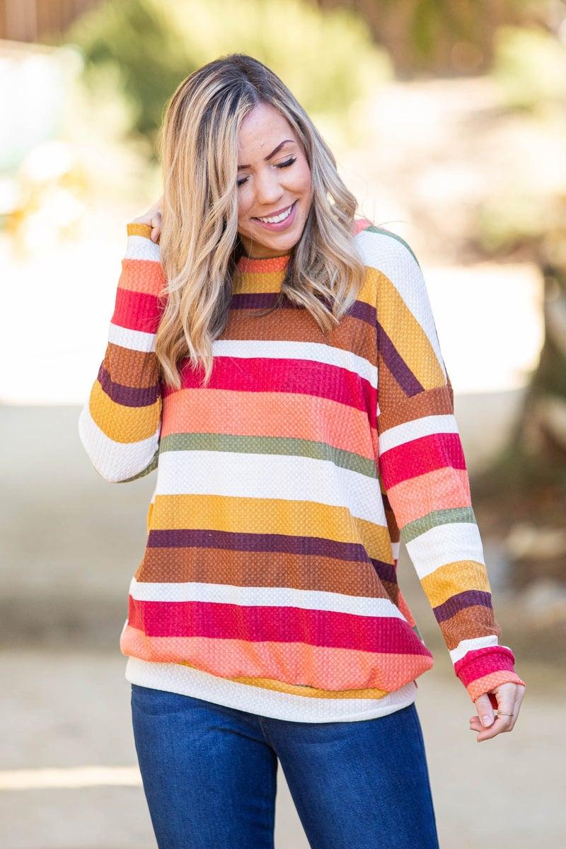 Timeless Striped Waffle Knit