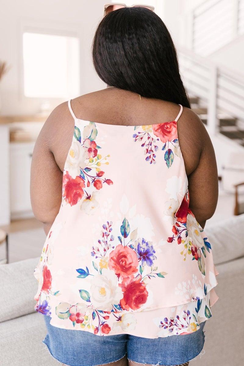 Elegant Floral Camisole In Blush