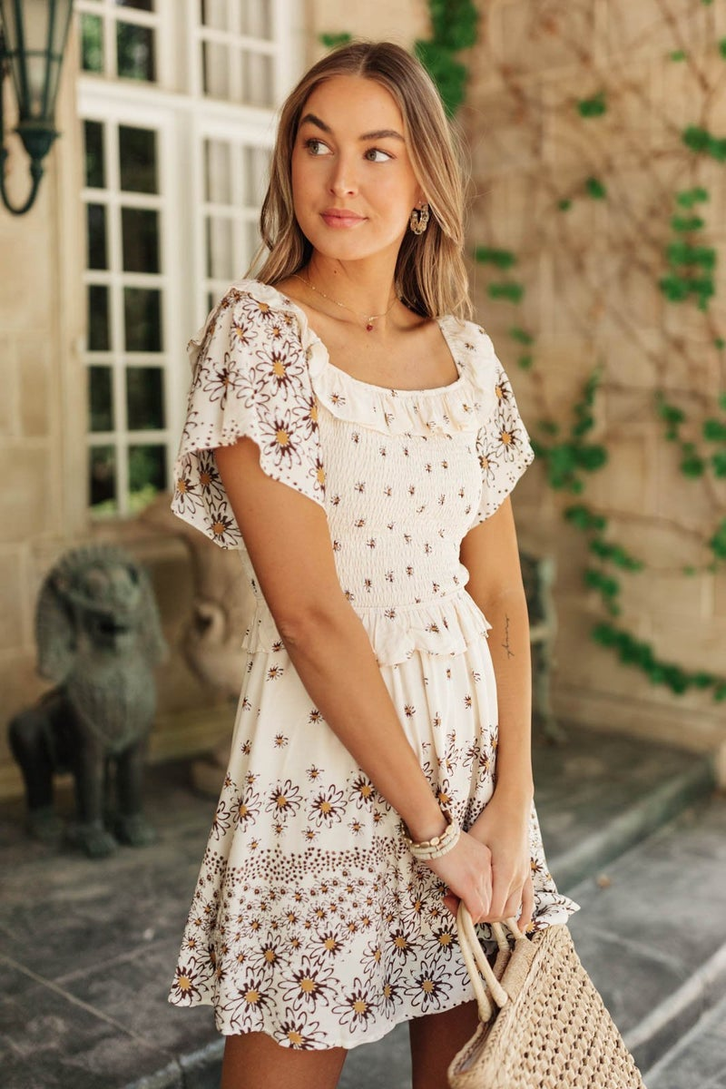 Daisy Chains Dress in Ivory