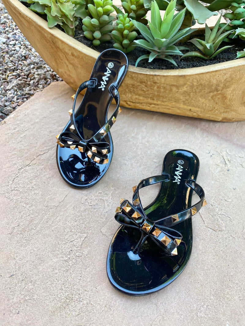 Tessa Black Bow Studded Jelly Sandals