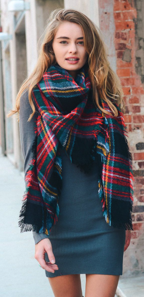 Red + Green Flannel Frayed Edge Blanket Scarf