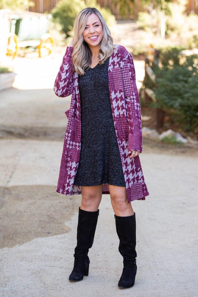Burgundy Houndstooth Sweater Cardigan
