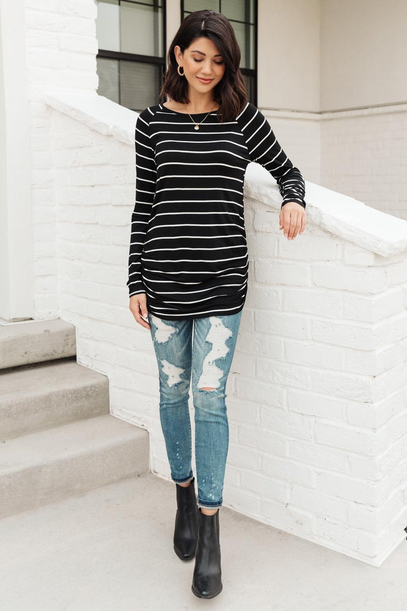 Sailing Stripes Top in Black
