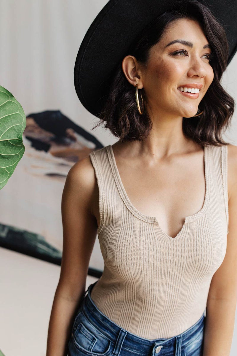 Ribbed Bodysuit in Taupe