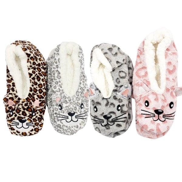 Leopard Print Sherpa Cat Slippers