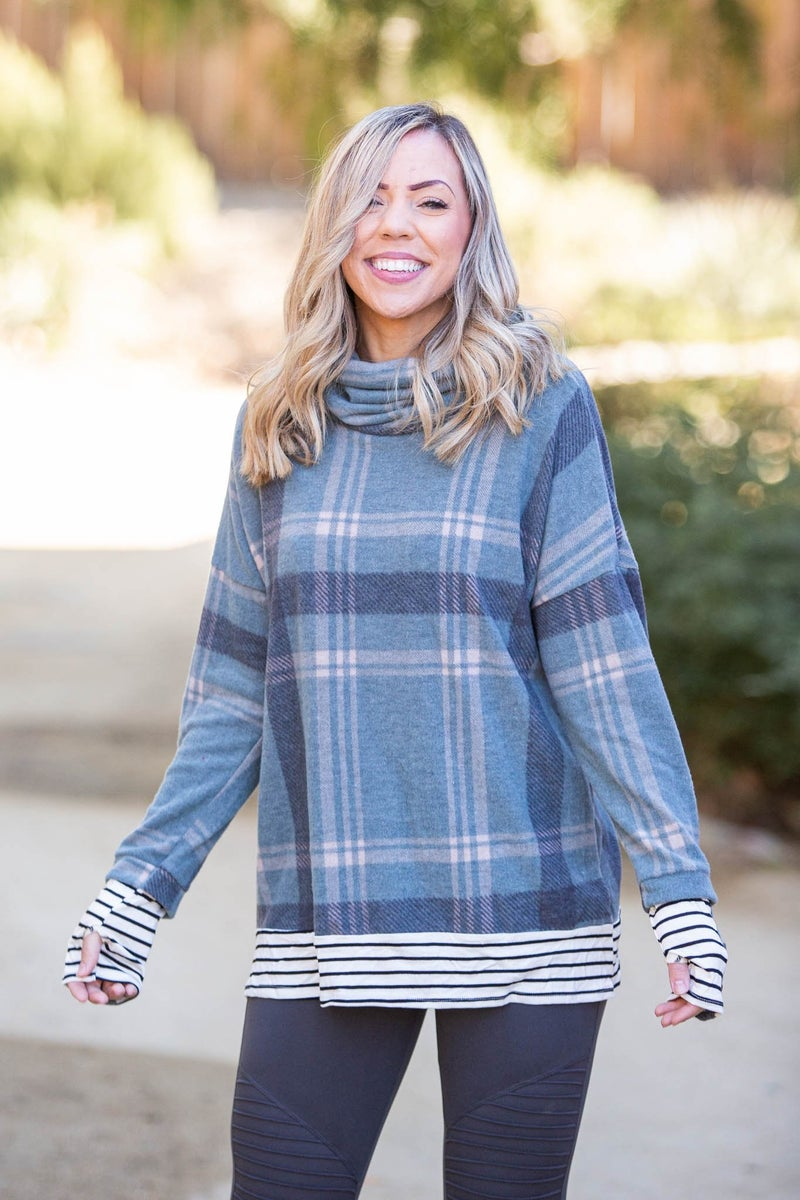 Teal Me About It Plaid Thumbhole Tunic