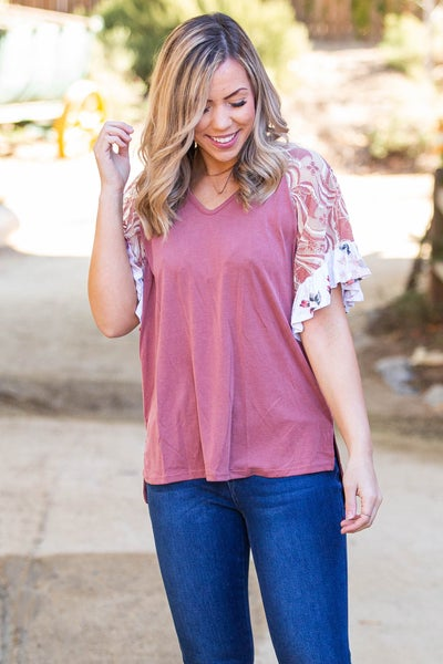 Mauve About You Ruffle Sleeve Top