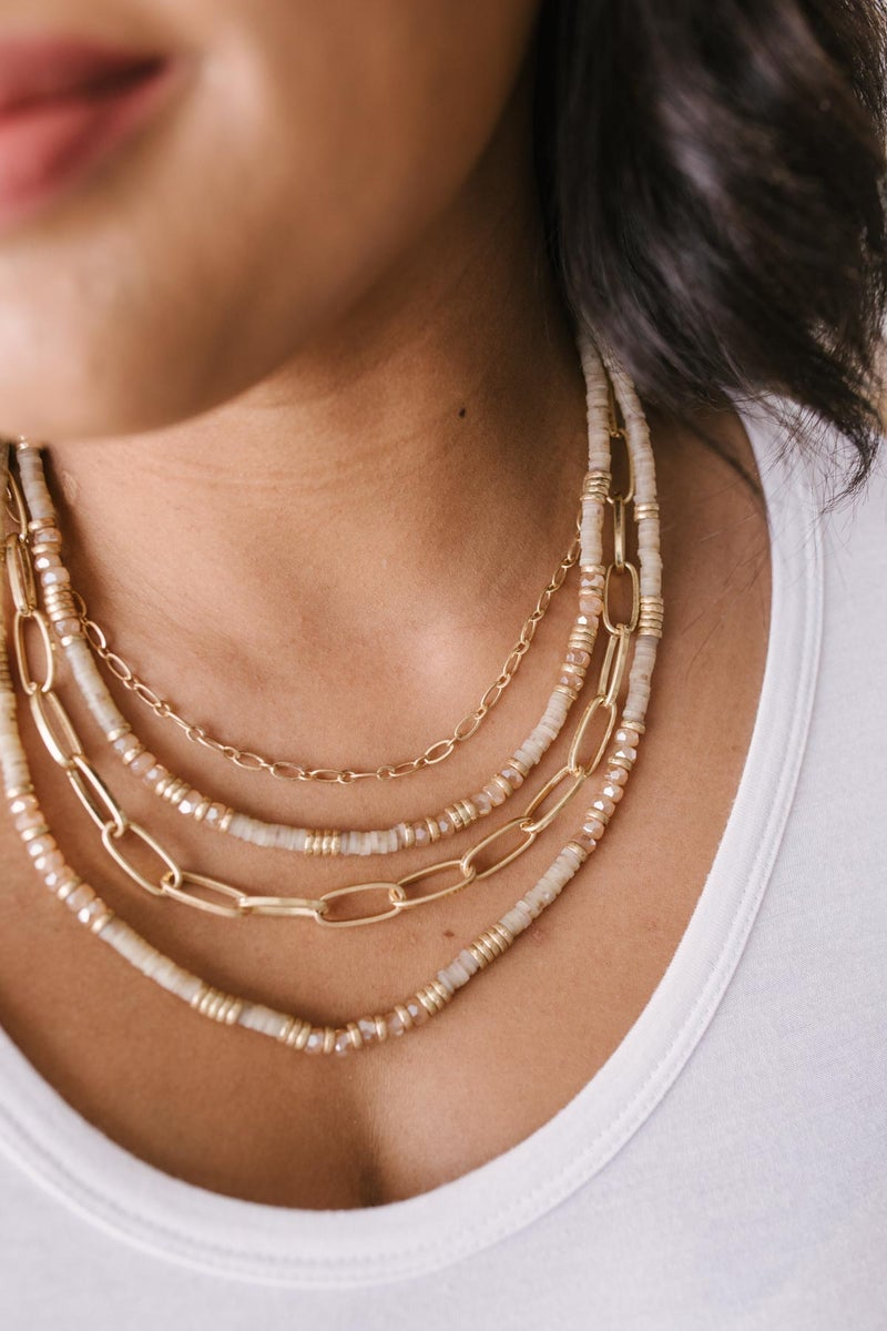 Layered Beads and Chain Necklace Set