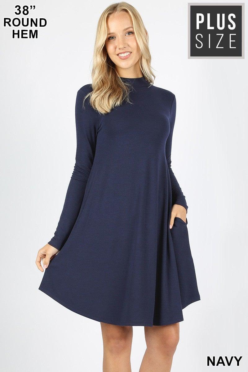 Mock Neck Long Sleeve Dress with Pockets