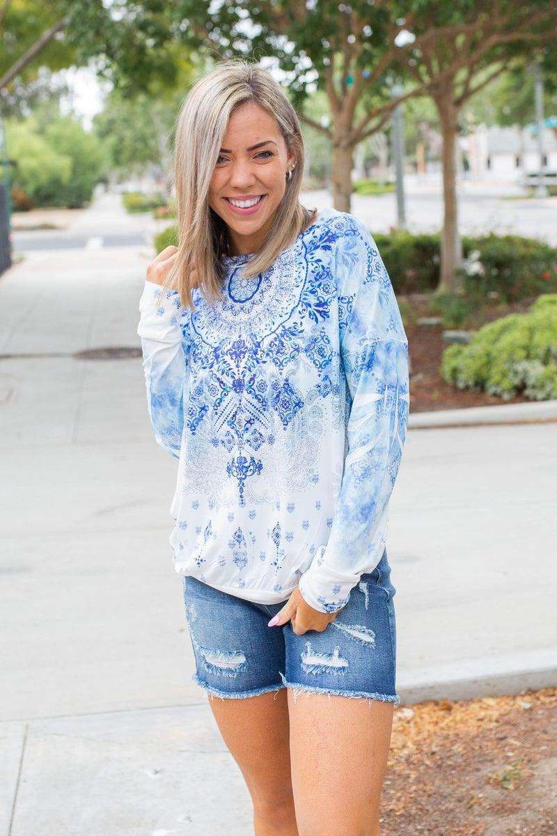 Ocean Blue Mandala Pullover