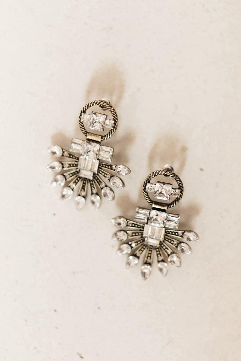 Rhinestone Art Deco Statement Earrings