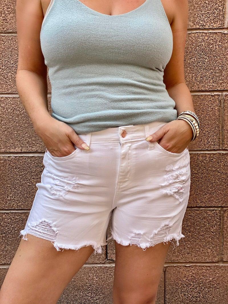 Judy Blue Kenzie White Destroyed Shark Bite Hem Shorts
