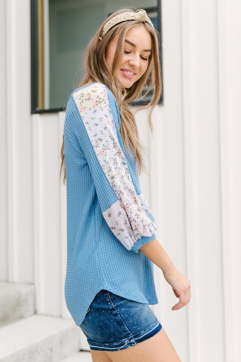 Blushing Blossom Top in Blue
