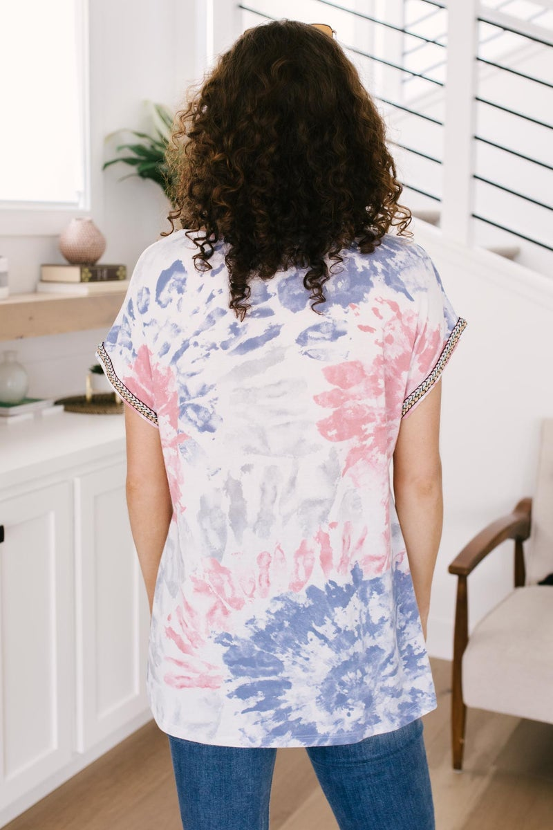 Burst Of Color Top In Baby Blue