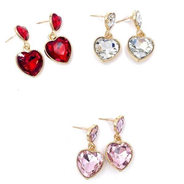 Double Crystal Heart Earrings